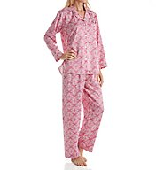 Miss Elaine Brushed Back Satin Foulard PJ Set 401116