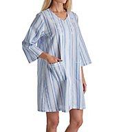 Miss Elaine Seersucker Short Zip Robe 833636